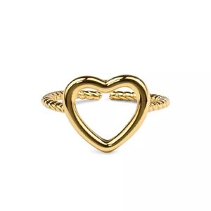NEW 14k Gold | 925 SS Hollow Love Thread Ring Band